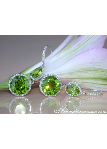 Stately Peridot Earrings with Diamonds