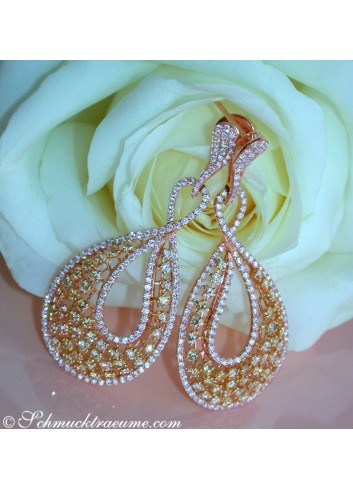 High-carat Earrings with Yellow & White Diamonds