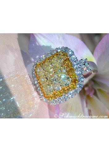 Gelbe Diamanten Ring mit Brillanten