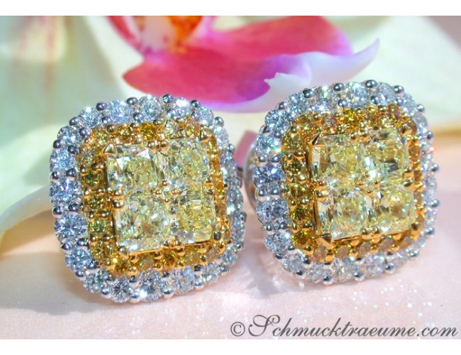 Exclusive Yellow & White Diamond Stud Earrings