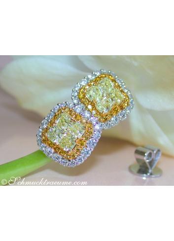 Gelbe Diamanten Ohrstecker mit Brillanten