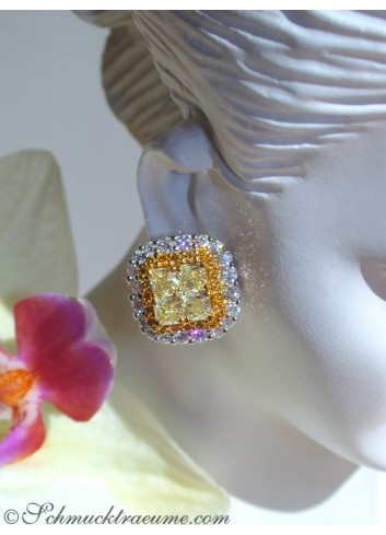 Exclusive Yellow & White Diamond Stud Earrings