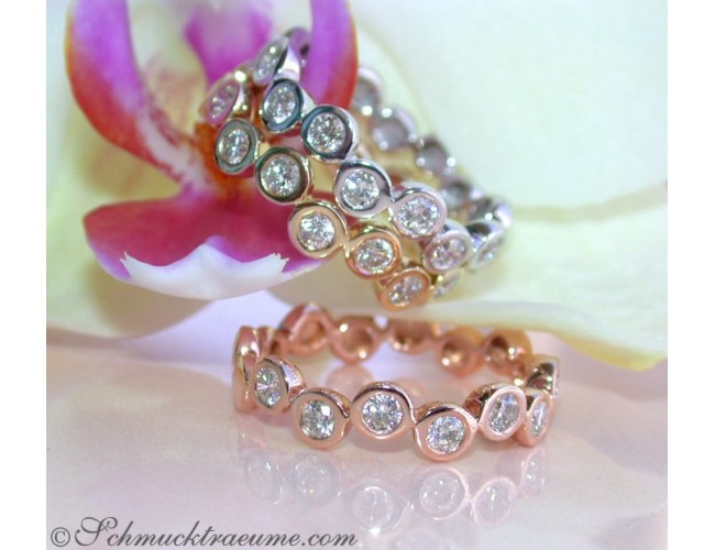 Three handsome stacking rings with diamonds