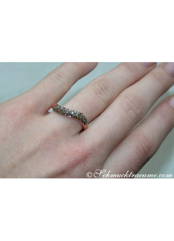 Curved Brown Diamond Pavé Ring
