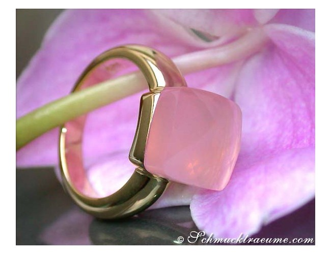 Rosenquarz Ring in Gelbgold 750