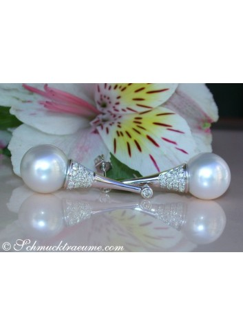 Extravagant Southsea Pearl Earrings with Diamonds