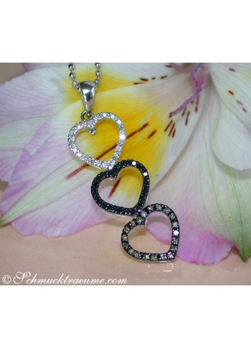 Delicate Heart Pendant with Brown, Black & White Diamonds