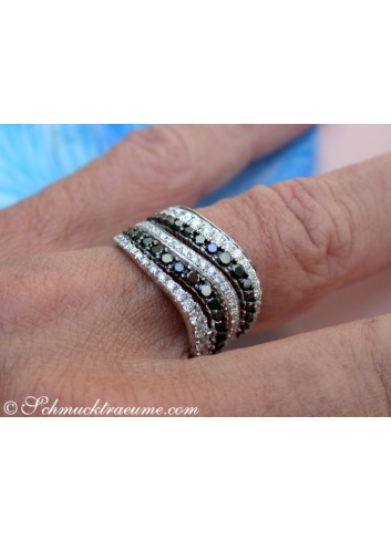 Wide Black & White Diamond Ring