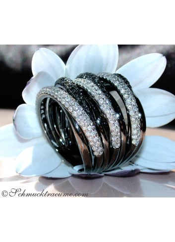 Multirow Black & White Diamond Ring