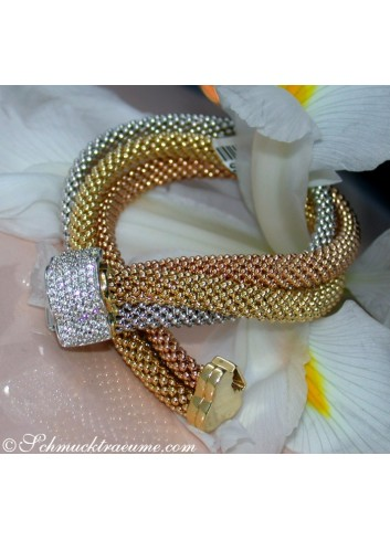"Stately ""Cord"" Bracelet with Diamonds"