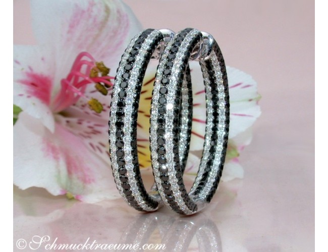 Extravagant Black & White Diamond Hoops