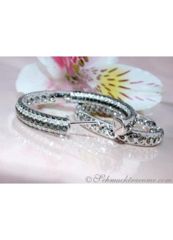 Extravagant Black & White Diamond Hoops