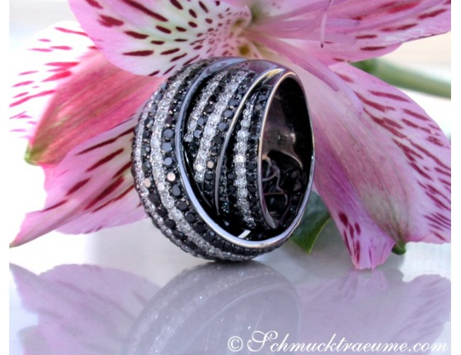 Stately Black & White Diamond Ring
