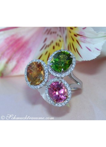 Feminine Tourmaline Ring with Diamonds