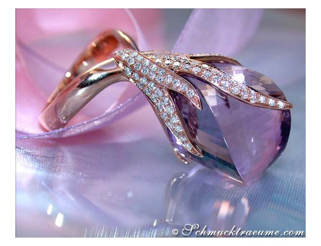 Fantastischer Amethyst Ring mit Brillanten in Roségold