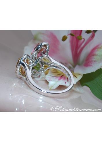 Feminine Tourmaline Ring with Diamonds
