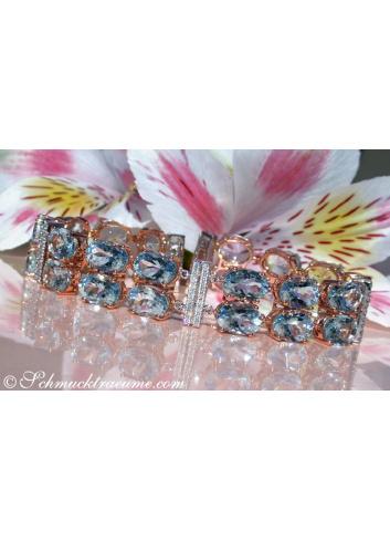 Aquamarin Armband mit Diamanten