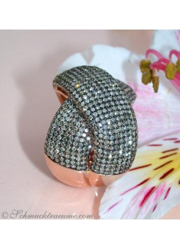 Roségold Ring mit braunen Brillanten