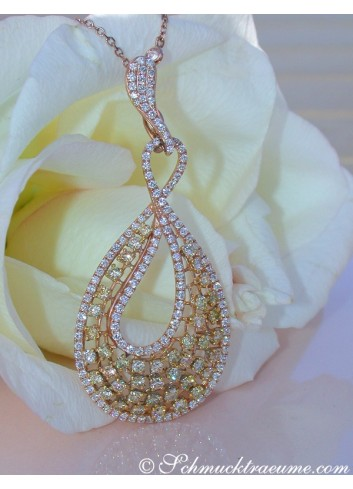 High Carat Pendant with Yellow & White Diamonds