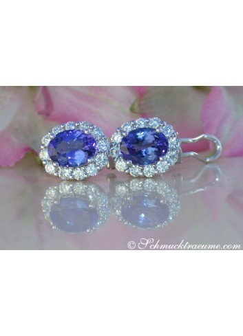 Exquisite AAA Tanzanite Studs with Diamonds