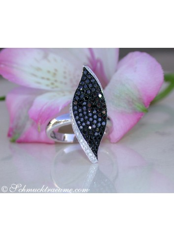Black & White Diamond Ring in a Leaf Design