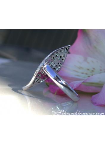Black & White Diamond Ring in a Leaf Design