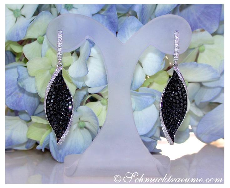 Black & White Diamond Earrings in a Leaf Design
