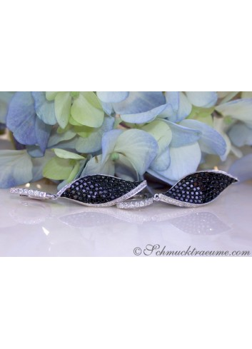 Black & White Diamond Earrings in a Leaf Design