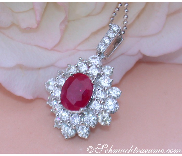Exquisite Burmese Ruby Pendant with Diamonds