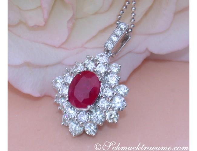 Exquisite Burmese Ruby Pendant with Diamonds