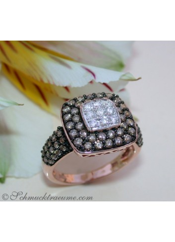 Timeless Square Ring with brown & white Diamonds