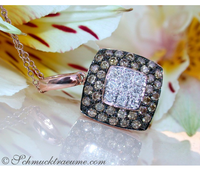 Timeless Square Pendant with white & brown Diamonds