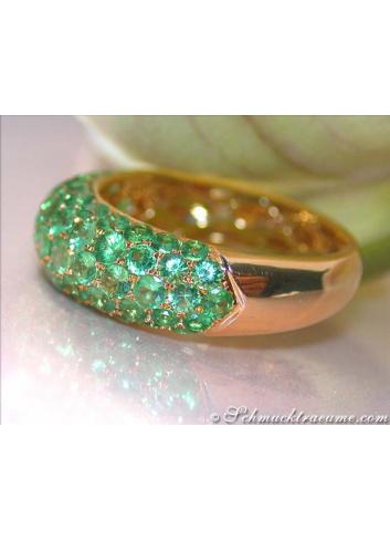 Tsavorit Pavé Ring in Gelbgold 585
