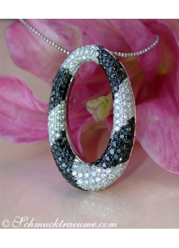 Striking Black and White Diamond Pendant