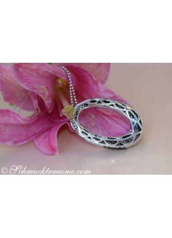 Striking Black and White Diamond Pendant