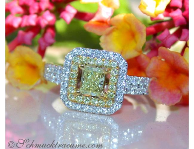 Luxus: Brillanten Ring mit gelben Diamanten