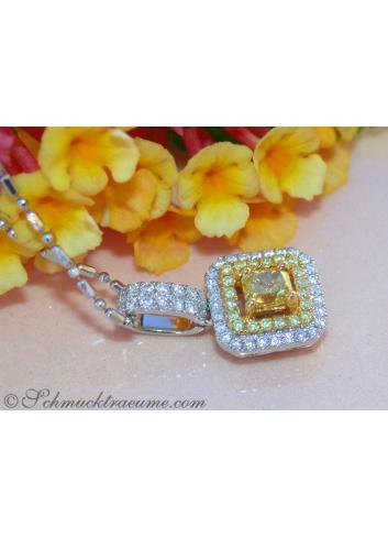 Luxus: Brillanten Anhänger mit gelben Diamanten