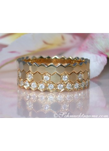 Drei Diamanten Ringe in Gelbgold 750 (Stacking Rings)