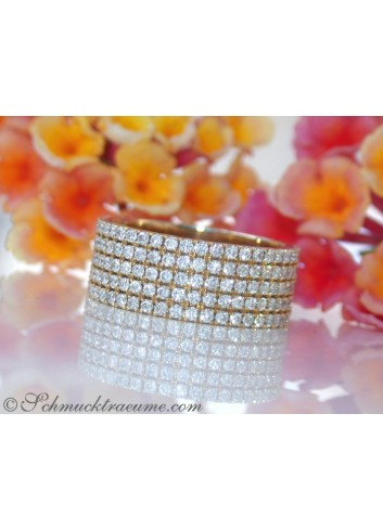 Extra flacher Brillanten Memory Ring / Memoire Ring