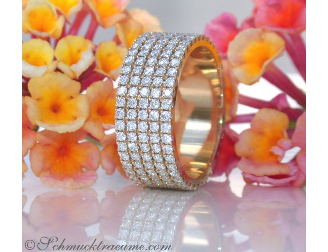 Extra Flat Diamond Eternity Ring in Yellow gold 18k