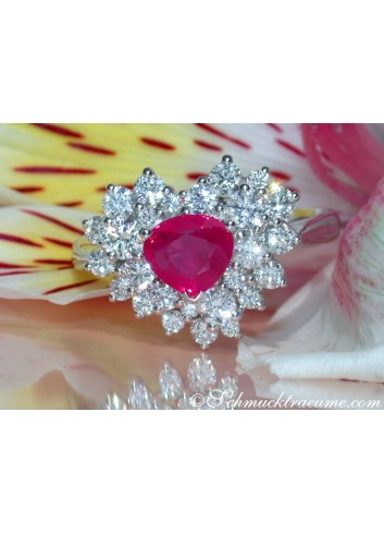 Precious Ruby Heart Ring with Diamonds