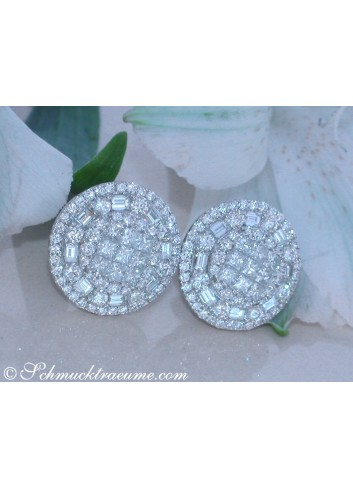 Noble Diamond Stud Earrings with Baguette & Princess Diamonds