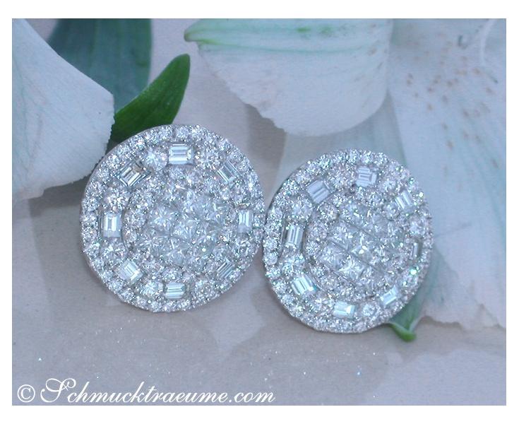 Luxus: Brillanten Ohrstecker mit Princess & Baguette Diamanten