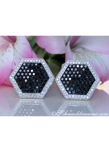 Unusual Black & White Diamond Earrings