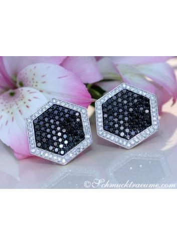 Unusual Black & White Diamond Earrings