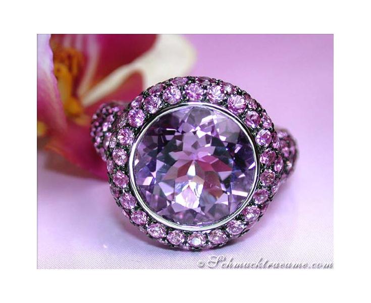 Amethyst Ring mit pinken Saphiren