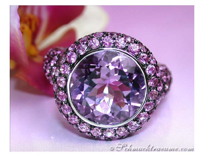 Glorious Amethyst Ring with Pink Sapphires