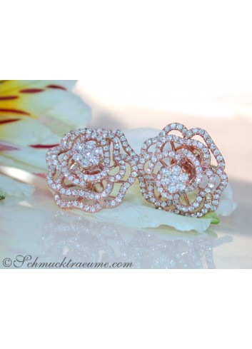 "Terrific Diamond ""Rose"" Stud Earrings"