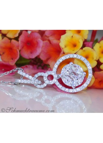 Precious Pendant with Brilliant, Princess & Marquise Diamonds