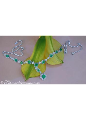 Einzigartiges Collier mit kolumbianischen Smaragden und Brillanten